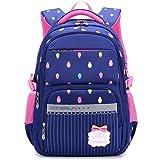 Uniuooi Primary School Bag Backpack for Girls 7-12 Years Old Waterproof Nylon Kids Schoolbag Laptop Bag Travel Rucksack (Navy)