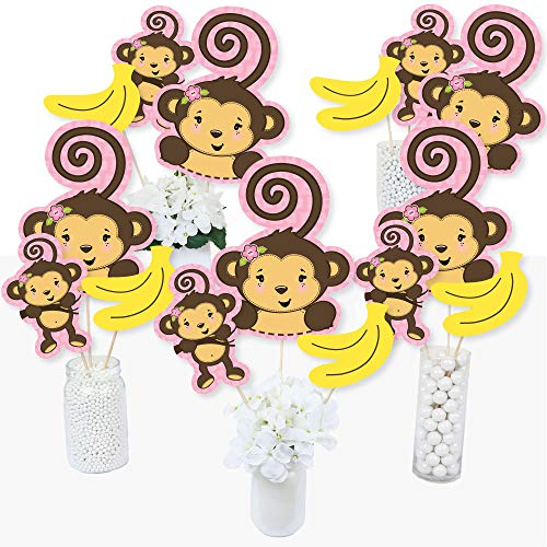 Monkey Baby Shower Centerpieces (Pink Monkey Girl - Baby Shower or Birthday Party Centerpiece Sticks - Table Toppers - Set of)