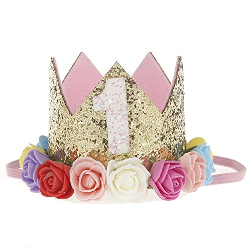 Stock Show 1st Pet Birthday Crown Hat Mini Dogs Cats Cute Holiday Party Hat Costume with Flowers Accessories and Adjustable Headband for Small Medium Dogs Cats Pets Baby, Rainbow Color in Golden -