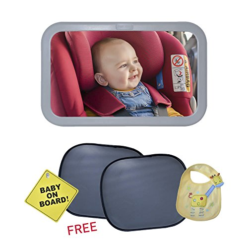 Baby Car Mirror For Viewing Infant In Crystal Clear View At All Angles Enhanced Visibility Matte Finish Stable & Safe Design - FREE Car Sun Shades, Baby On Board Sign And Baby Bib Included