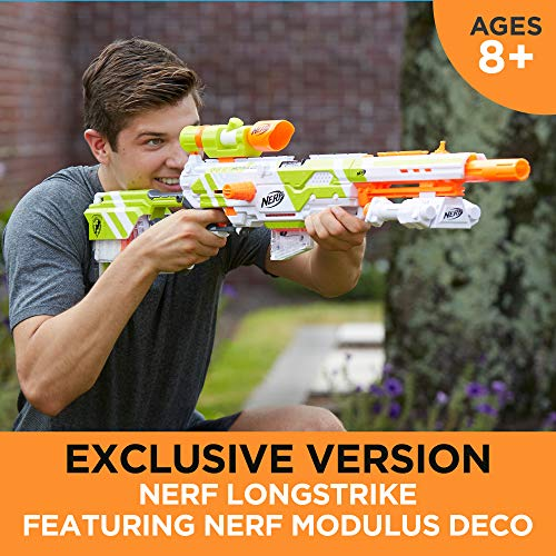 Longstrike Nerf Modulus Toy Blaster with Barrel Extension, Bipod, Scopes, 18 Modulus Elite Darts & 3 Six-Dart Clips (Amazon Exclusive)