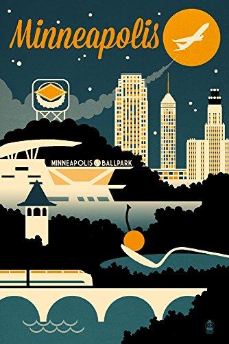 Lantern Press Minneapolis, Minnesota - Retro Skyline (9x12 Art Print, Wall Decor Travel Poster)