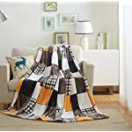 Tache Orange Fall Farmhouse Super Soft Warm Lightweight Plaid Fleece Patchwork Decorative Throw Blanket for Couch, Sofa, Lap - 50x60