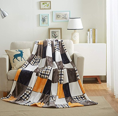 Tache 50x60 Fall Farmhouse Super Soft Warm Lightweight Plaid Fleece Patchwork Decorative Throw Blanket for Couch, Sofa, Lap - Colorful Orange, Yellow, Brown, White by Tache Home Fashion