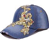 CRUOXIBB Baseball Cap Women Bling Rhinestone Flower Denim Jean Snapback Hip Hop Hat (86 Blue)
