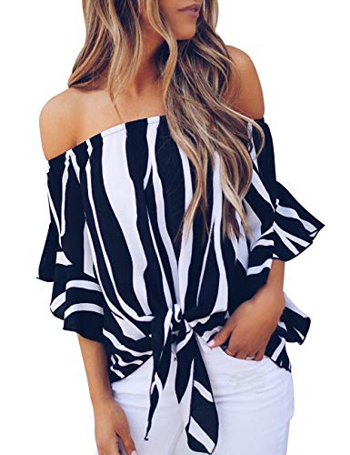 CILKOO Womens Casual Off The Shoulder Shirt Striped Print Long Sleeve Loose Blouses Tops Black US8-10 Medium