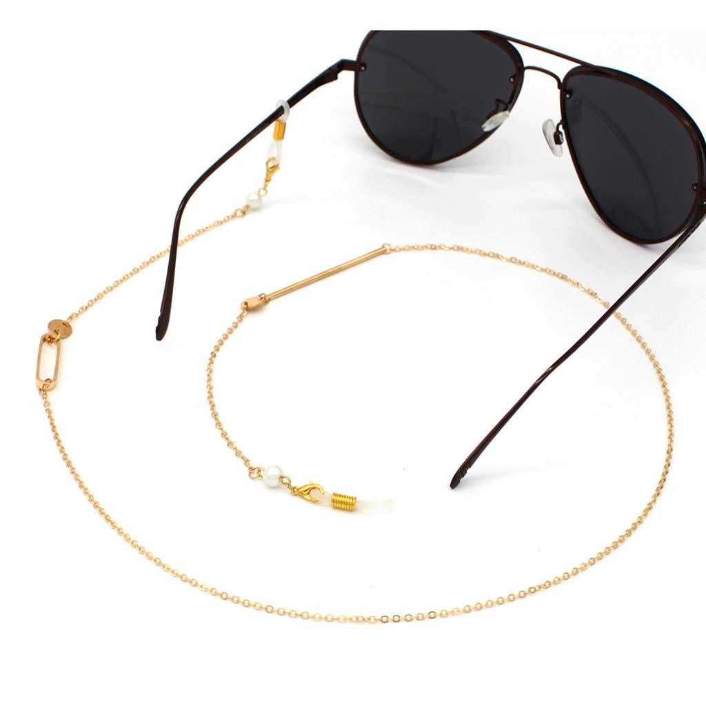 Simdoc Eyewear Retainer Hot Reading Glasses Chain Holder Fashion Sunglasses Simple Neck Metal Strap Gold