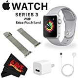 6Ave Apple Watch Series 3 42mm Smartwatch (GPS Only, Silver Aluminum Case, Fog Sport Band) + WATCH BAND SPACE GRAY MESH 42MM + MicroFiber Cloth Bundle