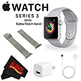 Apple Watch Series 3 38mm Smartwatch (GPS Only, Silver Aluminum Case, Fog Sport Band) MQKU2LL/A + WATCH BAND SPACE GRAY MESH 38mm + MicroFiber Cloth Bundle