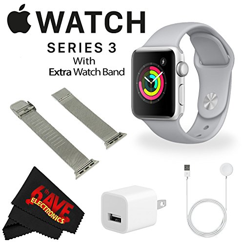 Apple Watch Series 3 38mm Smartwatch (GPS Only, Silver Aluminum Case, Fog Sport Band) MQKU2LL/A + WATCH BAND SPACE GRAY MESH 38mm + MicroFiber Cloth Bundle by 6Ave