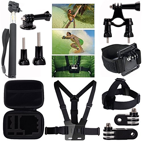 MCOCEAN 7 in 1 Accessories Kit for GoPro Hero 4/ 3+/ 3/ 2/ SJCAM and Xiaomi Yi Camera (Go Pro Hero3 Head Strap compare prices)