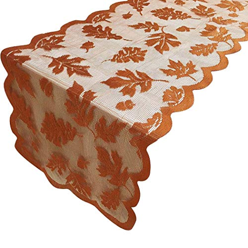JUSTDOLIFE Thanksgiving Table Runner Lace Banquet Runner Table Decoration 13'' x 72'' ()