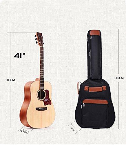 Acoustic Guitar Sampler (Waterproof 600D Oxford Dreadnought Acoustic Guitar Gig Bag with 5-Pocket, Double Guitar Strap and 12 Pick Sampler Black (US Stock))