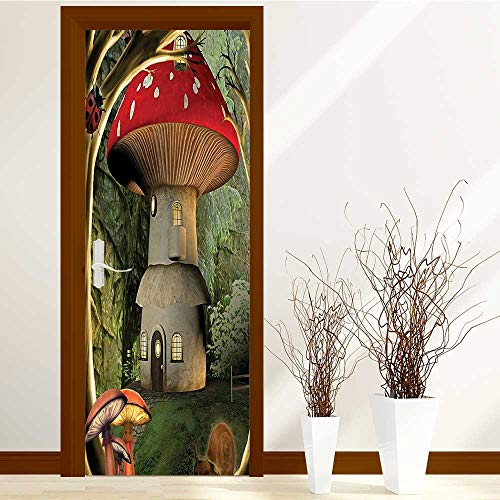Home Door Sticker Decor Shroom in Enchanted Wih Ladybug