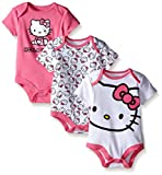Hello Kitty Baby Girls' Value Pack Bodysuits, White/Pink, 0/3 Months