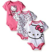 Hello Kitty Baby Girls' Value Pack Bodysuits, White/Pink, 6/9Months