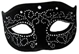 Jacobson Hat Company Women's Velvet Mask with Rhinestones, Black, Adult