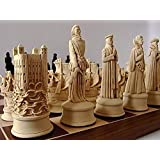 Large Heavy Stunning full complete set of Tudor/ Elizabethan (Elizabeth 1st) chess chessmen game pieces-brown and Ivory coloured