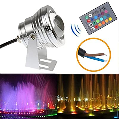 LED Flood Light 10W RGB Waterproof Outdoor Lamp Underwater Wash Light with 24 Key Remote Control for Landscape Garden Pool Fountain Pond