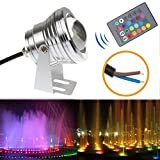 LED Flood Light 10W RGB Waterproof Outdoor Lamp Underwater Wash Light with 24 Key Remote Control for Landscape Garden Pool Fountain Pond - Silver