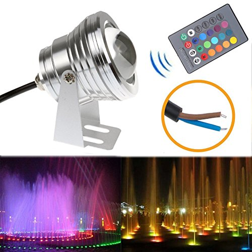 LED Flood Light 10W RGB Waterproof Outdoor Lamp Underwater Wash Light with 24 Key Remote Control for Landscape Garden Pool Fountain Pond - Silver by Generic
