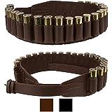 BronzeDog Handmade Leather Shotgun Shell Cartridge Belt Holder Bandolier, Buttstock Shell Holder 12 Gauge for Rifles, Hunting Ammo Pouch Bag, 12 ga Shotgun Shell Pouch Black Brown Khaki Grey (Brown)