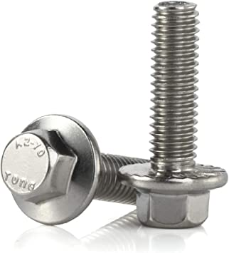 25 PCS M6-1.0 x 40mm Flanged Hex Head Bolts Flange Hexagon Screws Stainless Steel A2-70 DIN 6921