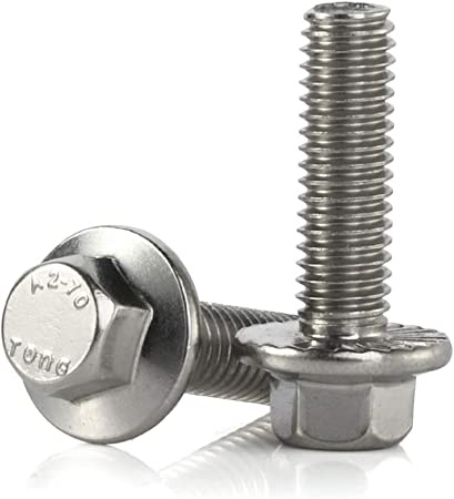 M6-1.0 x 16mm Flanged Hex Head Bolts Flange Hexagon Screws Stainless Steel A2-70