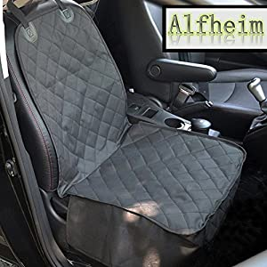 Alfheim Dog Car Seat Cover Nonslip Rubber Backing with Anchors Universal Design for All Cars, Trucks & SUVs, Black