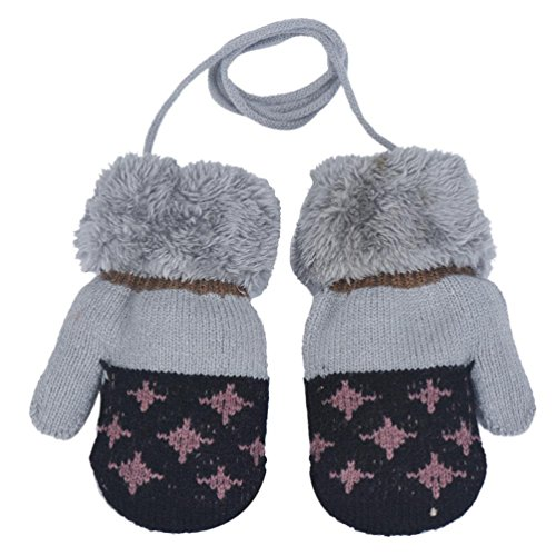 Price comparison product image Hot Sale!!! Toddler Baby Gloves, Jushye Knitted Mittens 1 Pairs Cute Boy Leaf Girl Keep Warm Glove Winter Warm Gloves Mittens (Black)