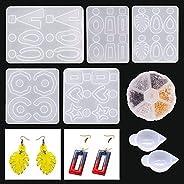 Brincos de silicone moldes de resina, Alritz 5 peças moldes de brinco para amantes de artesanato faça-você-mes