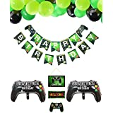 Video Game Party Supplies Happy Birthday Gaming Banner, Welcome Hanging Decor and 32 Pcs Gamer Themed Balloons for Kids and Boys Birthday Party