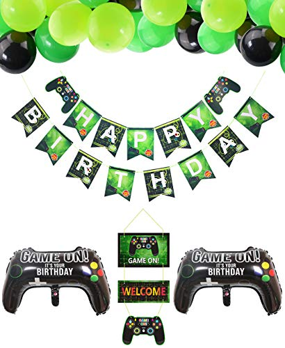 Video Game Party Supplies HAPPY BIRTHDAY Gaming Banner, GAME ON Welcome Hanging Decor and 32 Pcs Gamer Themed Balloons for Kids and Boys Birthday Party