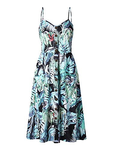 OCHENAT Women's Floral Spaghetti Strap Button Front Boho Midi Dress with Pockets Color #10 Leaves XL
