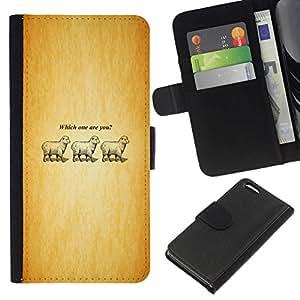 All Phone Most Case / Oferta Especial Cáscara Funda de cuero Monedero Cubierta de proteccion Caso / Wallet Case for Apple Iphone 5C // Which One Are You - Lamb - Funny