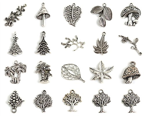 YARUIE 20x Bulk Mixed Plants Antique Bronze Tone Charm Pendants For Bracelet Making