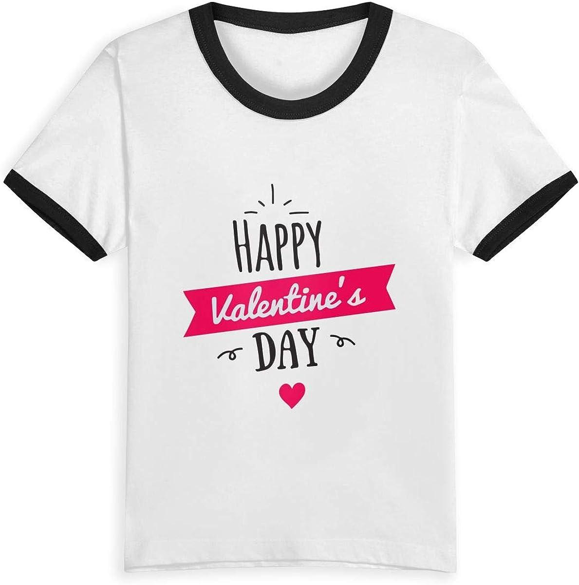 CY SHOP February Childrens Boys Girls Contrast Short Sleeve T-Shirt