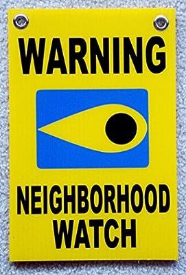 "1 Pcs Garnished Unique Warning Neighborhood Watch Signs Home Premises Hour Yard Burglar Protect Poster Holder Door Hanger Under Cameras Protected Guardian Outdoor Neighbor Size 8""x12"" w/ Grommets"