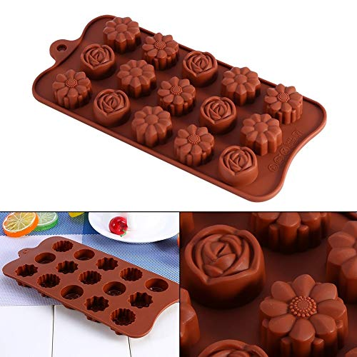 1 piece 1Pcs 3D Rose Flower Cake Mold Silicone Soap Mold Baking Ice Tray Mould Fondant Cakes Chocolate Marzipan DIY Cooking/Craft Clays