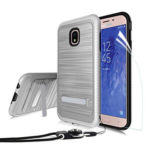 (Samsung Galaxy J7 2018/J7 Refine/J7V J7 V 2nd Gen/J7 Star/J7 Top/J7 Crown/J7 Aura Case[Brushed Texture],OEAGO Dual Layer Kickstand Protective Cover with Neck Lanyards - Silver)