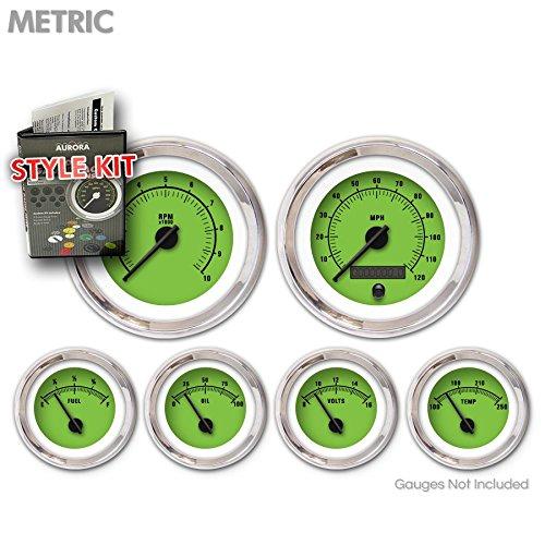 Aurora Instruments 5070 Rider Green Metric Style Kit (Black Vintage Needles, Chrome Trim Rings)