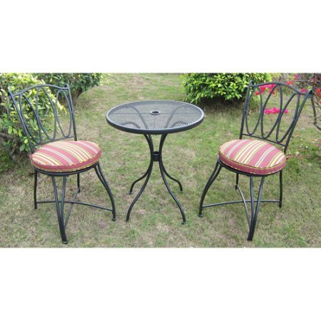 Mainstays Powder-coated Steel Frame Scroll and Stripe 3-Piece Outdoor Bistro Set, Seats 2 by Mainstay