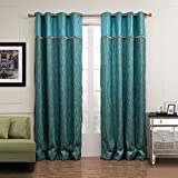 Blackout Lined Curtains Peacock Drapes – KoTing 1 Panel Peacock Blue and Green Chenille Drapes Grommet Top 100 inch Long