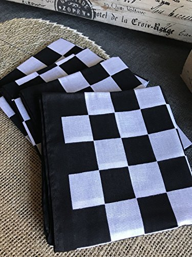 "Check French Country Napkins Set of 4 Black & White Cute 21""x21"""