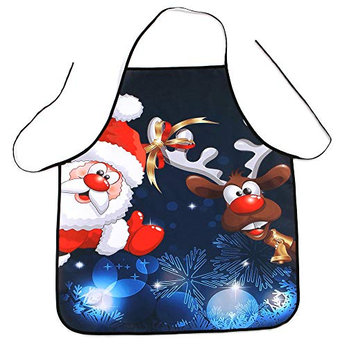 KFSO Christmas Apron, Santa Claus Snowman Christmas Tree, Unisex Kitchen Bib Apron with Adjustable Neck for Cooking Baking Gardening, Multi (C1)
