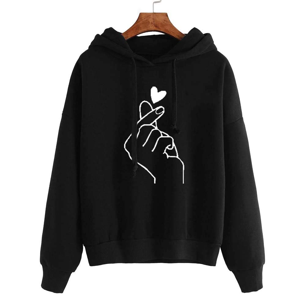 Women's Hoodie Long Sleeve Printed Letters Womens Long Sleeve Hoodie Sweatshirt Jumper Hooded Pullover Tops Blouse Boys' Fashion Black M by Shybuy