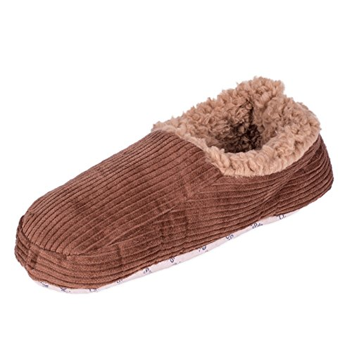 Snoozies Mens Corduroy Fleece Lined Non-Skid Slipper Socks - Chocolate, Small