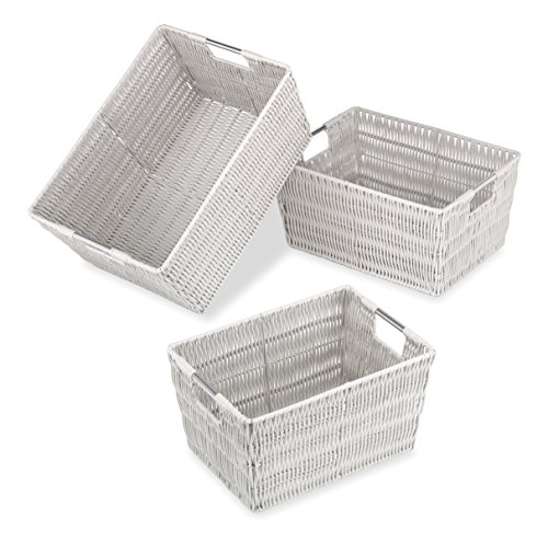 Whitmor Rattique Storage Baskets - Moonstruck Gray (3 Piece Set) Woven Wicker Frame