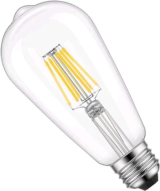 Vintage LED Edison Bulbs, ST58 Antique LED Filament Bulbs, Dimmable LED Light Bulbs, 6W, Equivalent 60W, 1400 Lumens, High Brightness Warm White 5000K, E26 Medium Base, Clear Glass (1 Pack)