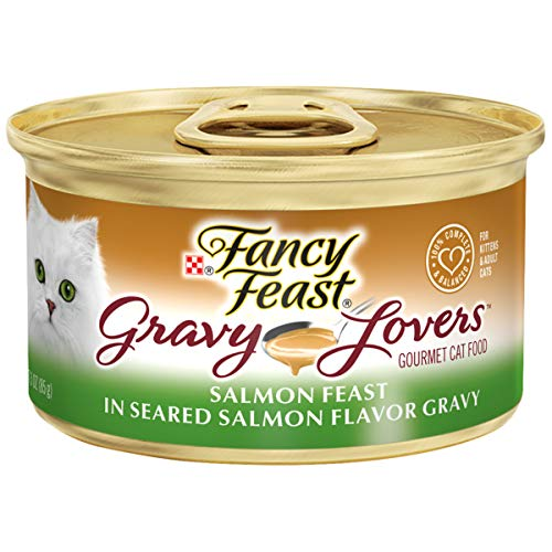 Purina Fancy Feast Gravy Wet Cat Food; Gravy Lovers Salmon Feast in Seared Salmon Flavor Gravy - 3 oz. Can,Pack of 24